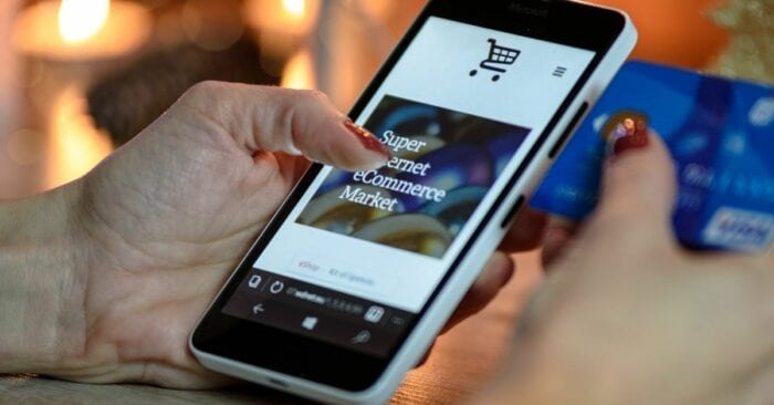 ecommerce mobile site on smart phone
