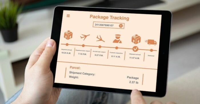 stages of order tracking on ipad